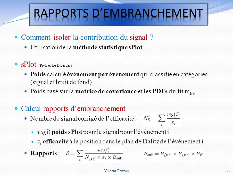 RAPPORTS D'EMBRANCHEMENT