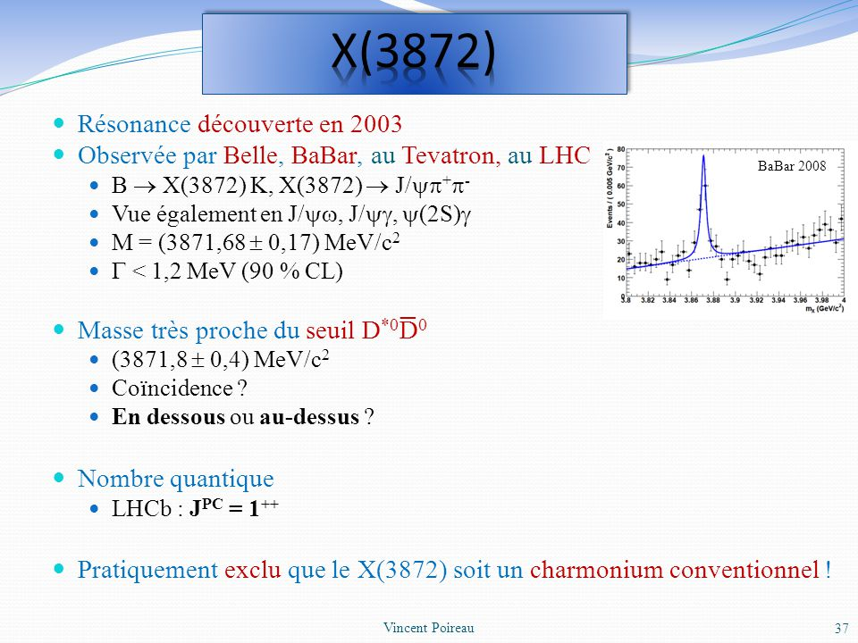 X(3872) Résonance découverte en 2003