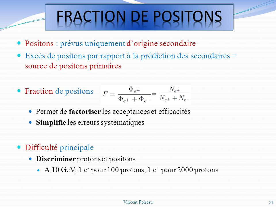 FRACTION DE POSITONS Positons : prévus uniquement d'origine secondaire