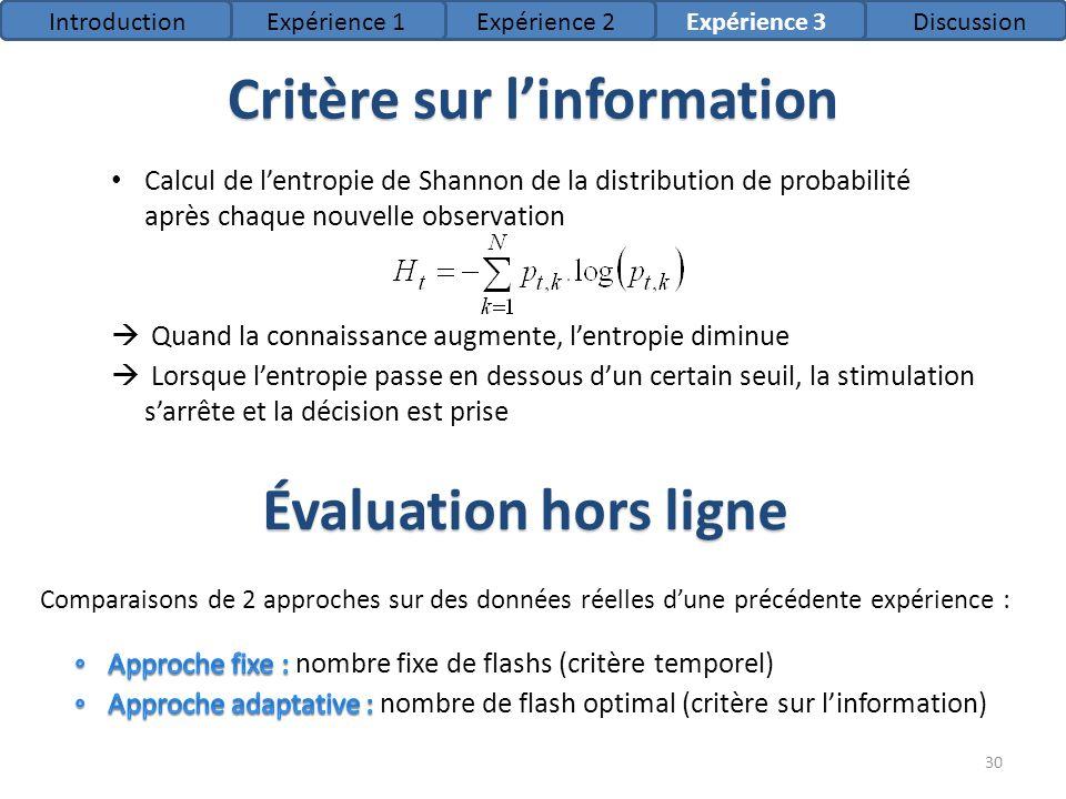Critère sur l'information