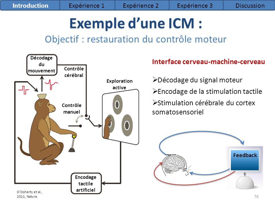 Exemple d'une ICM : Objectif : restauration du contrôle moteur