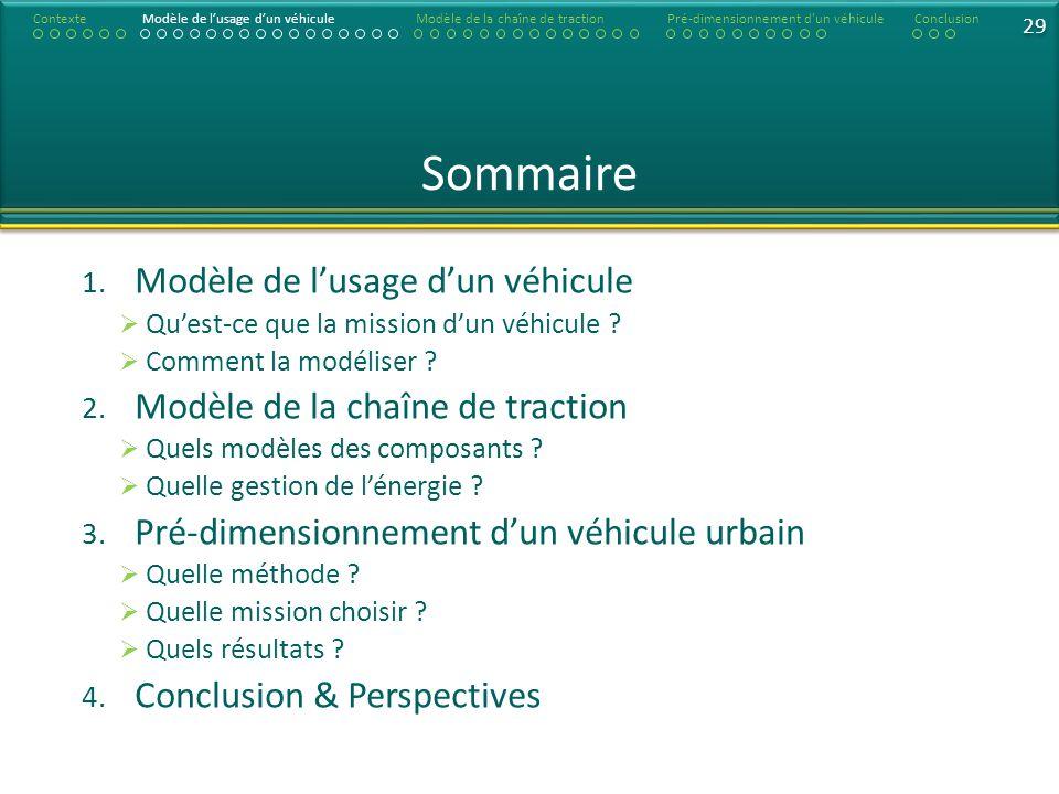 Sommaire Modèle de l'usage d'un véhicule