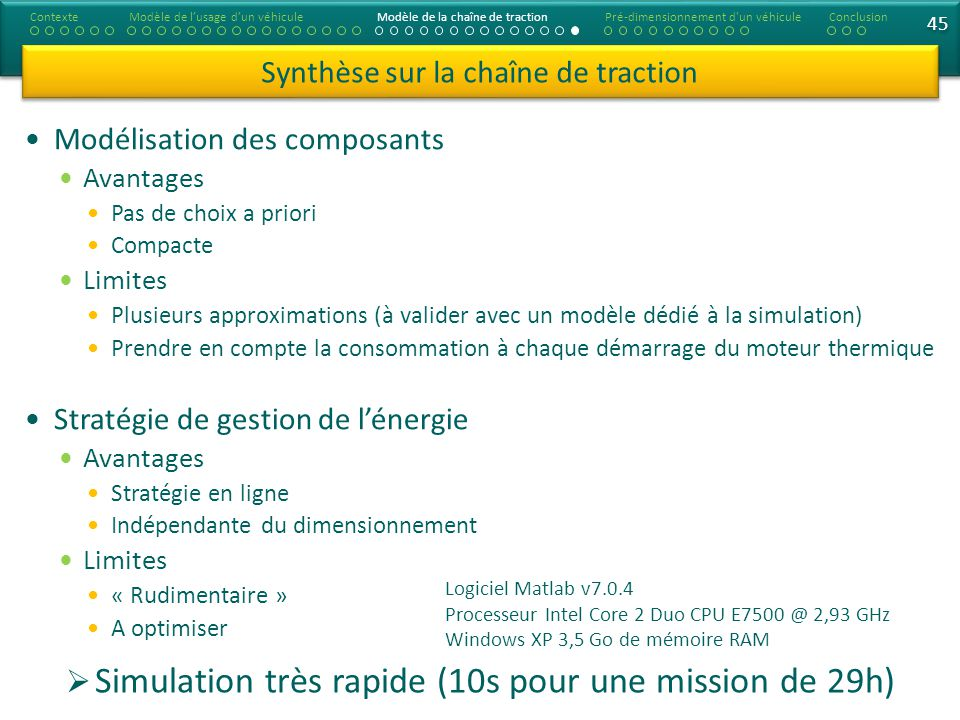Simulation très rapide (10s pour une mission de 29h)