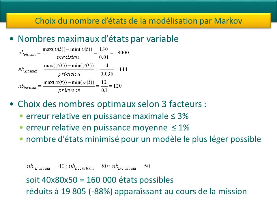 Choix du nombre d'états de la modélisation par Markov