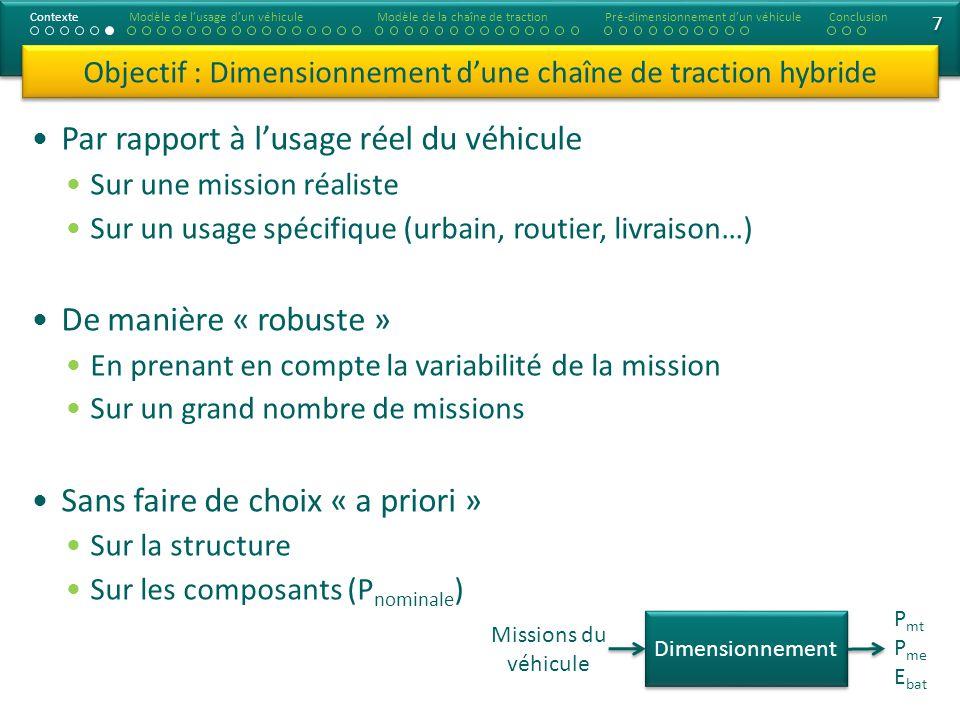 Objectif : Dimensionnement d'une chaîne de traction hybride
