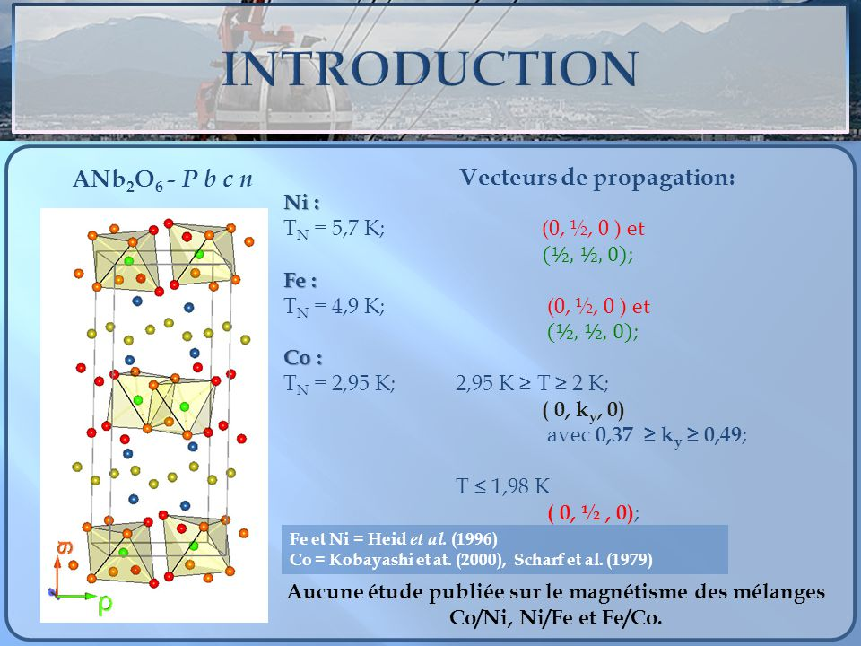 INTRODUCTION Vecteurs de propagation: ANb2O6 - P b c n Ni :