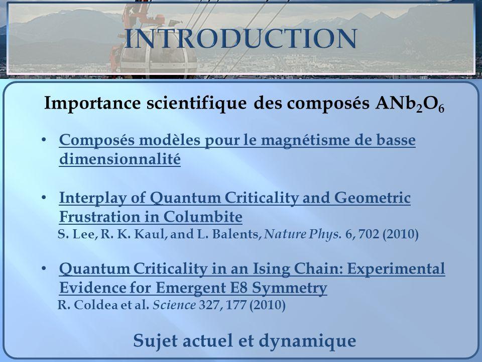 Importance scientifique des composés ANb2O6 Sujet actuel et dynamique