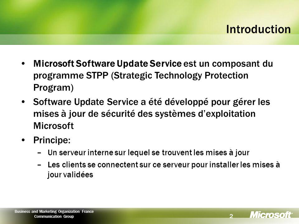 Introduction Microsoft Software Update Service est un composant du programme STPP (Strategic Technology Protection Program)
