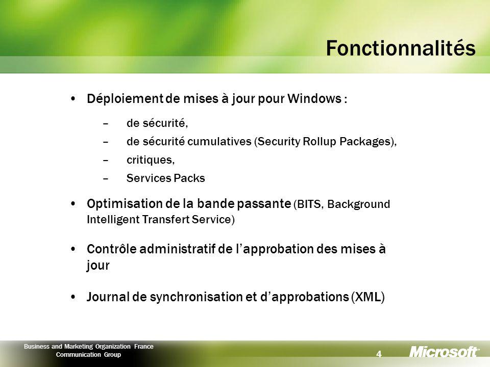 Fonctionnalités Déploiement de mises à jour pour Windows :