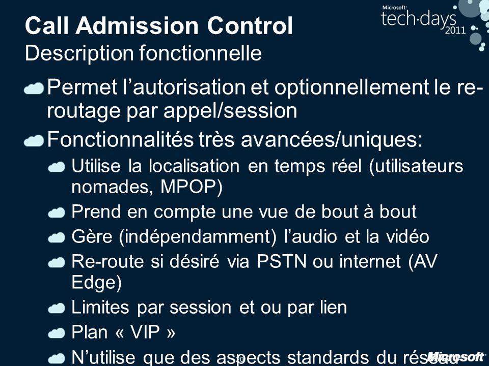 Call Admission Control Description fonctionnelle