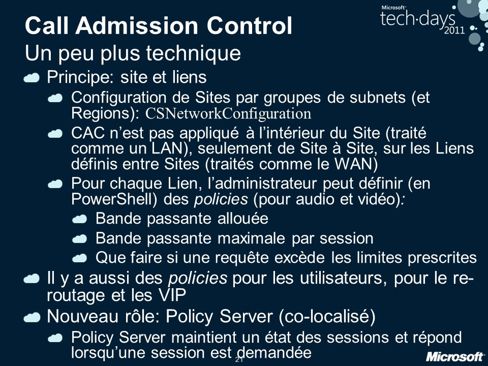 Call Admission Control Un peu plus technique