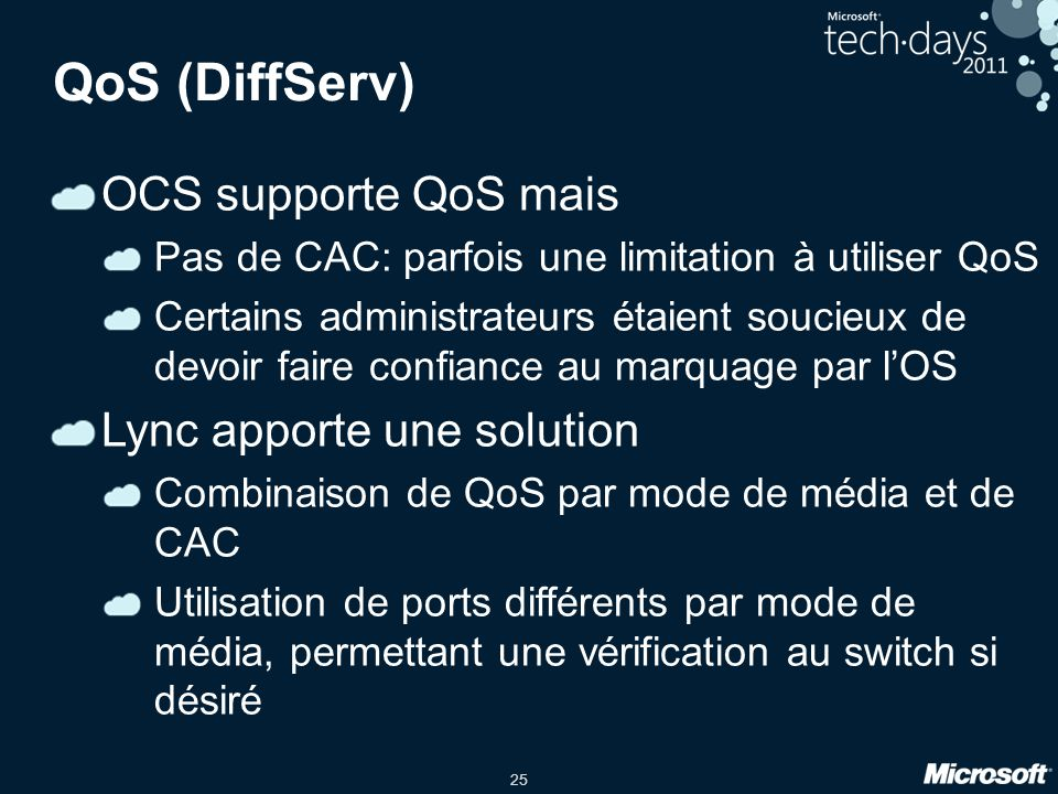 QoS (DiffServ) OCS supporte QoS mais Lync apporte une solution