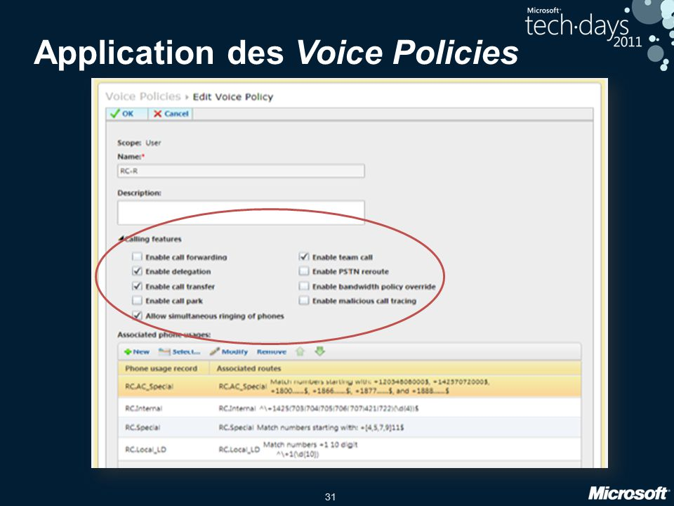 Application des Voice Policies