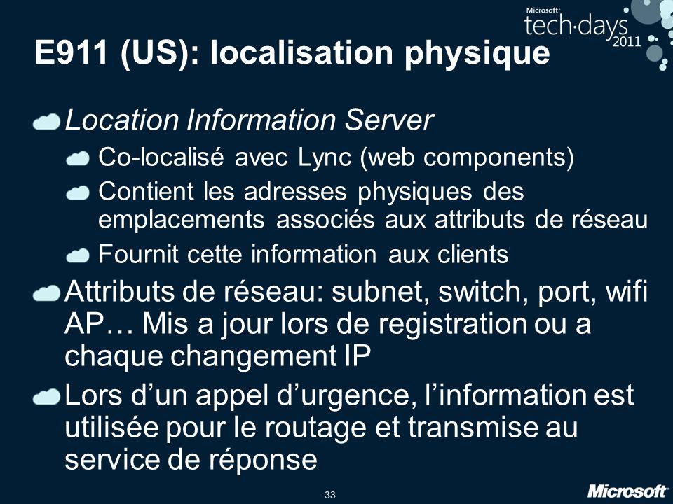 E911 (US): localisation physique