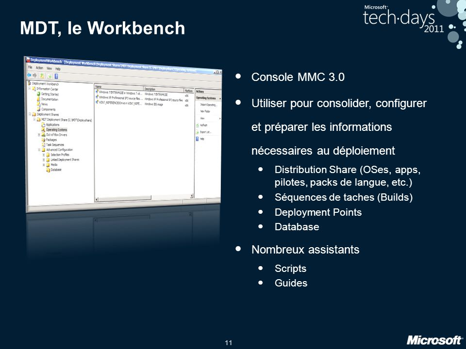 MDT, le Workbench Console MMC 3.0