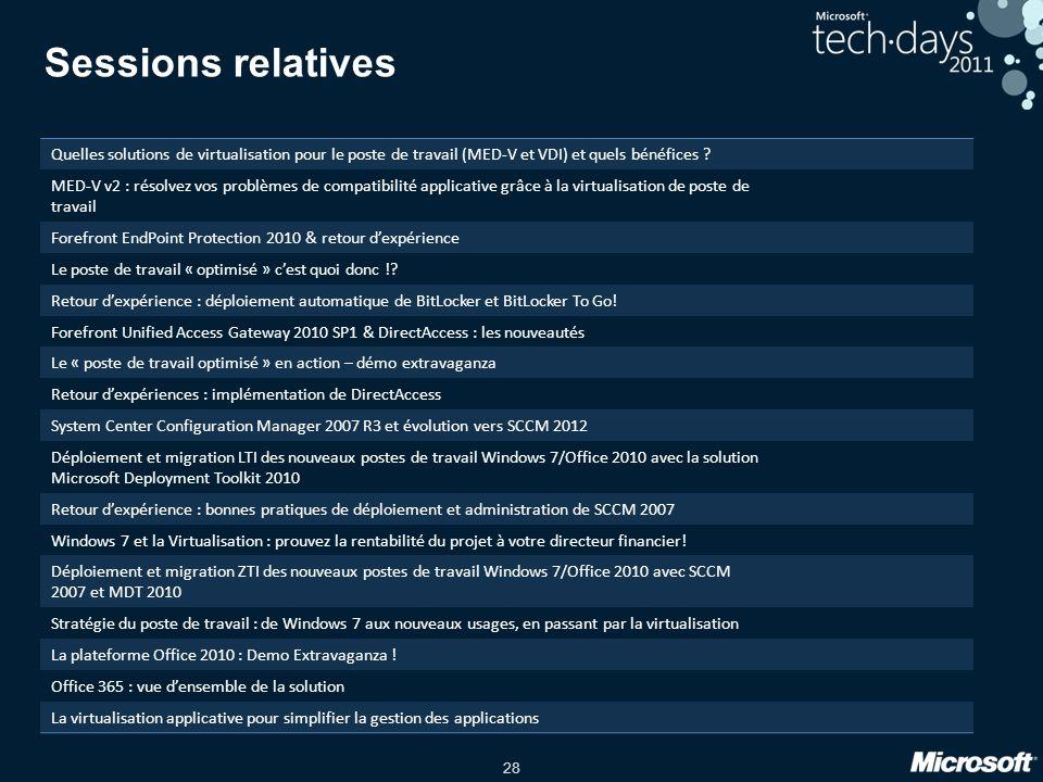 Sessions relatives Quelles solutions de virtualisation pour le poste de travail (MED-V et VDI) et quels bénéfices
