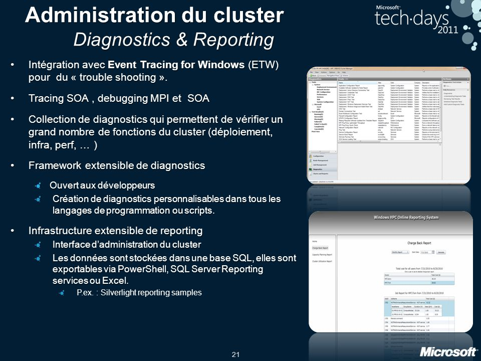 Administration du cluster Diagnostics & Reporting