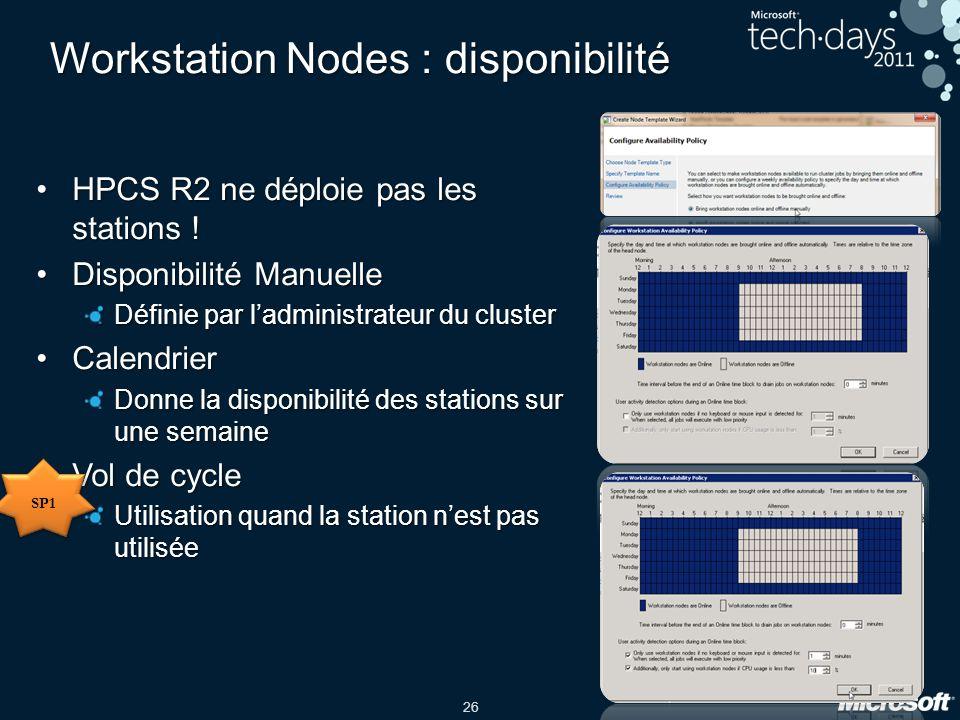 Workstation Nodes : disponibilité