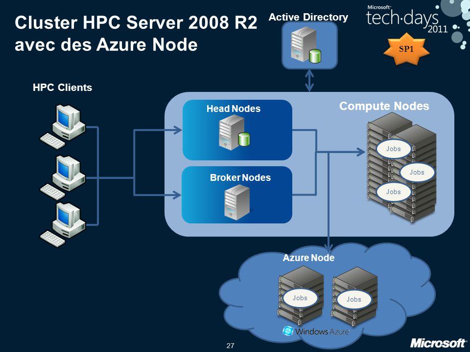 Cluster HPC Server 2008 R2 avec des Azure Node
