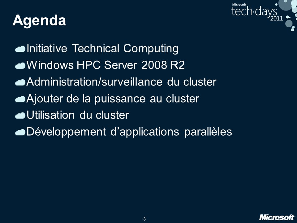 Agenda Initiative Technical Computing Windows HPC Server 2008 R2