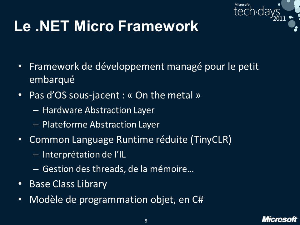 Le .NET Micro Framework Framework de développement managé pour le petit embarqué. Pas d'OS sous-jacent : « On the metal »