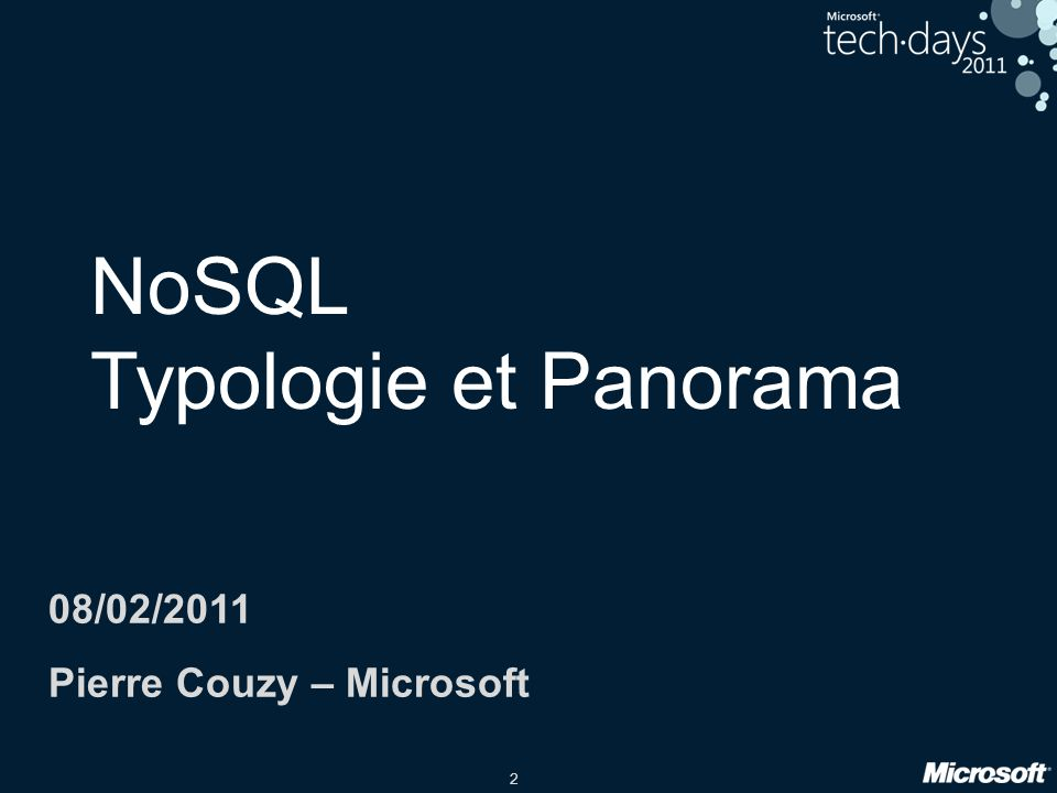 NoSQL Typologie et Panorama