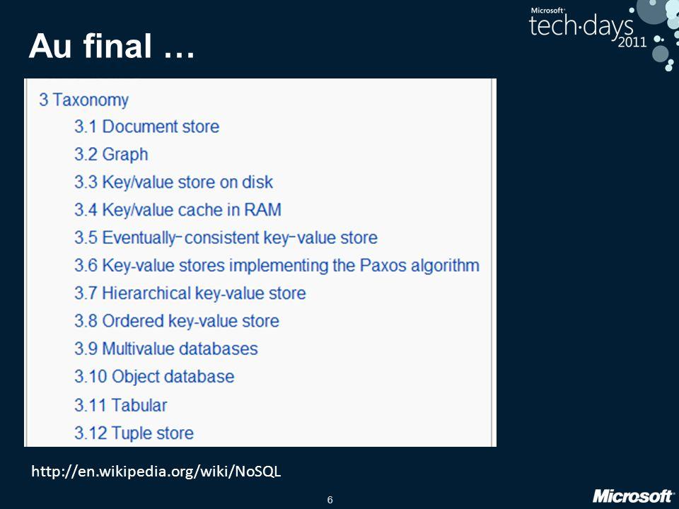 Au final … http://en.wikipedia.org/wiki/NoSQL