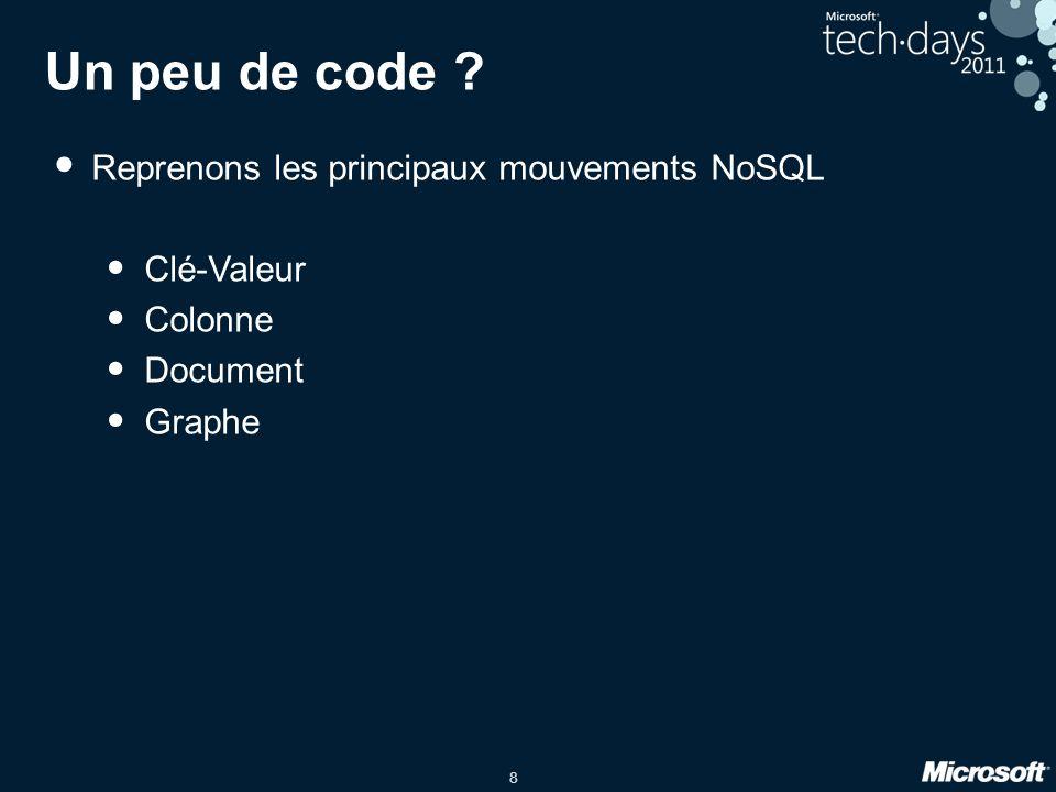Un peu de code Reprenons les principaux mouvements NoSQL Clé-Valeur