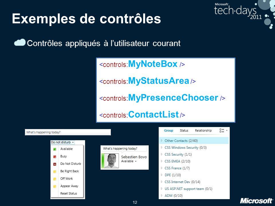 Exemples de contrôles Contrôles appliqués à l'utilisateur courant