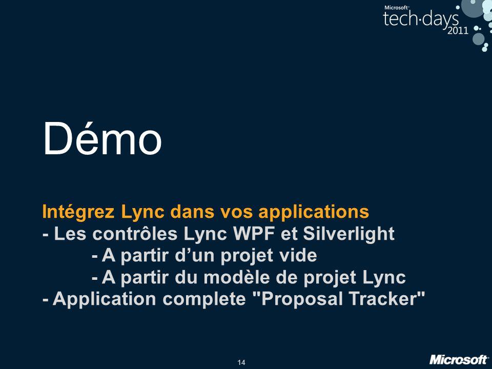 Démo Intégrez Lync dans vos applications