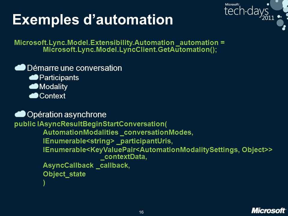 Exemples d'automation