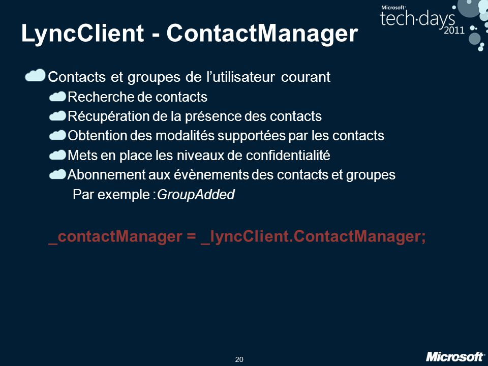 LyncClient - ContactManager