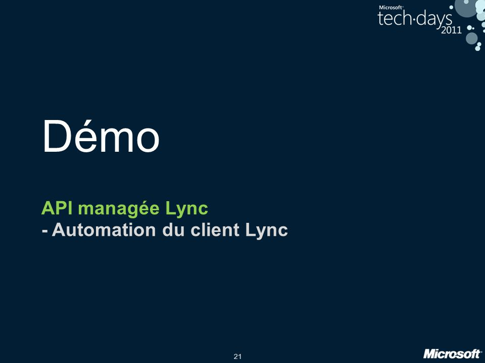 API managée Lync - Automation du client Lync