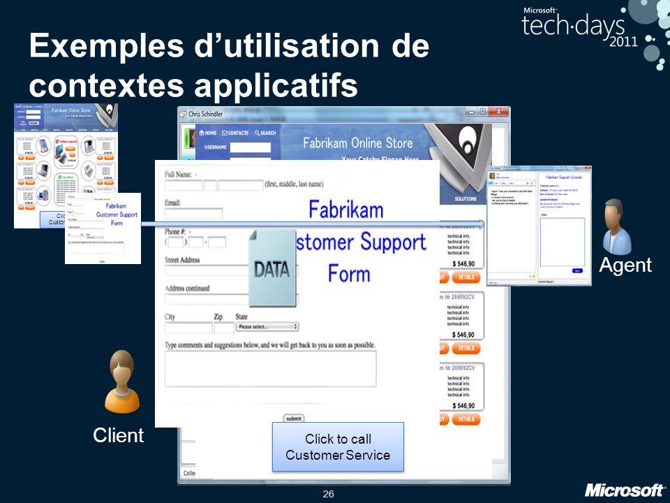 Exemples d'utilisation de contextes applicatifs