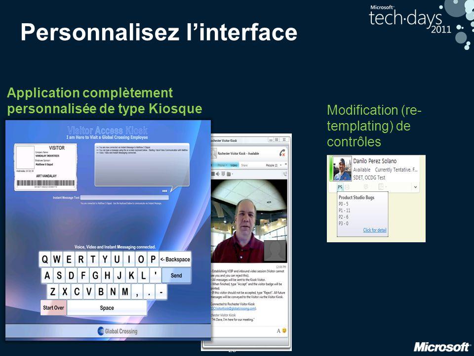 Personnalisez l'interface