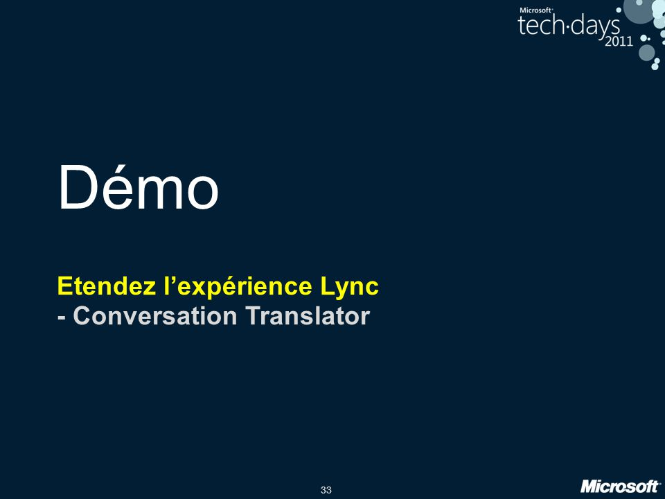Etendez l'expérience Lync - Conversation Translator