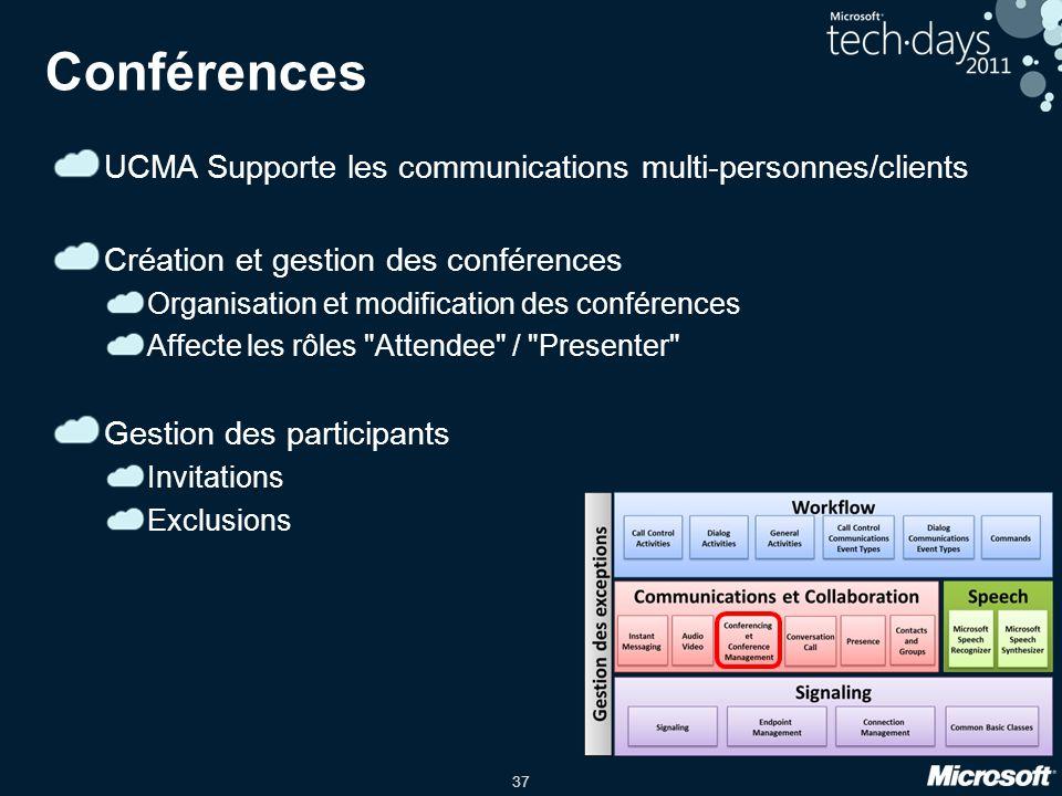 Conférences UCMA Supporte les communications multi-personnes/clients