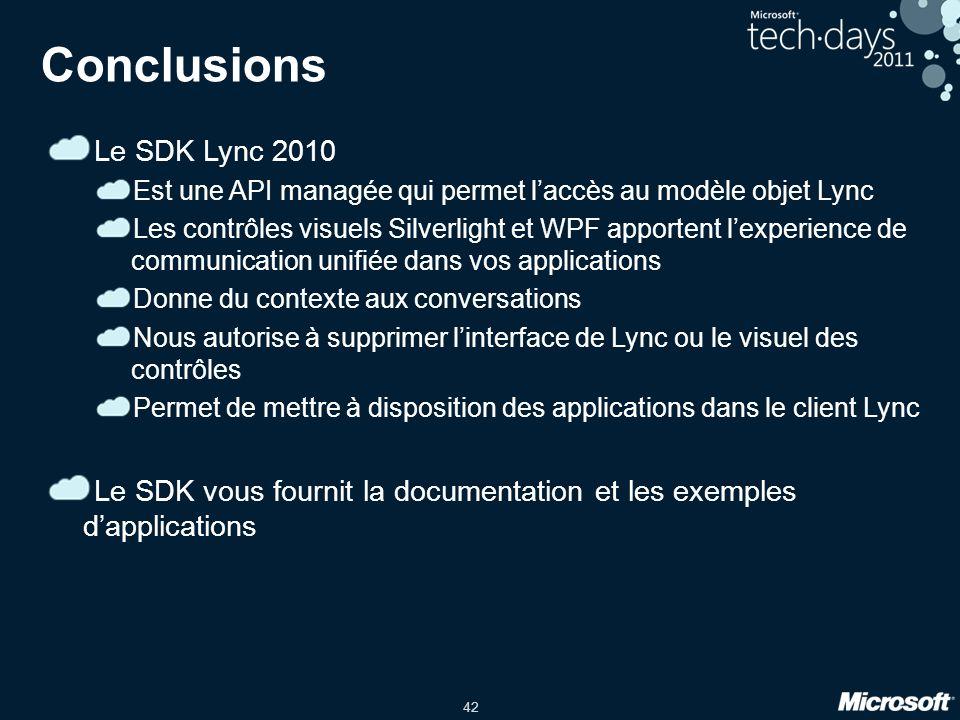 Conclusions Le SDK Lync 2010