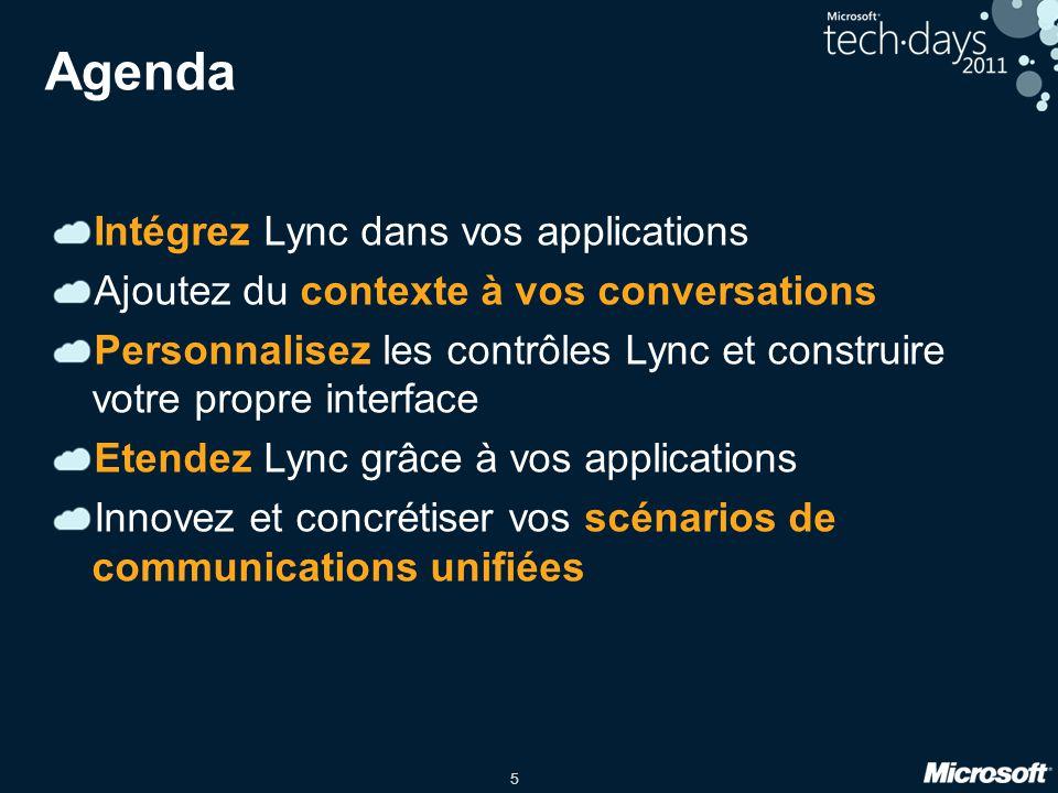 Agenda Intégrez Lync dans vos applications