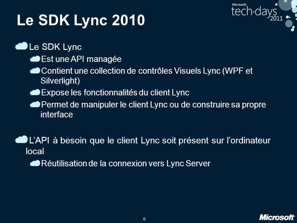 3/31/2017 9:52 PM Le SDK Lync 2010. Le SDK Lync. Est une API managée. Contient une collection de contrôles Visuels Lync (WPF et Silverlight)