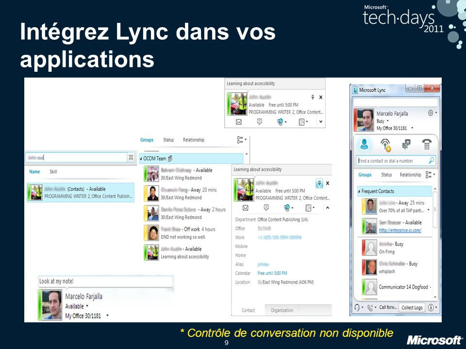 Intégrez Lync dans vos applications