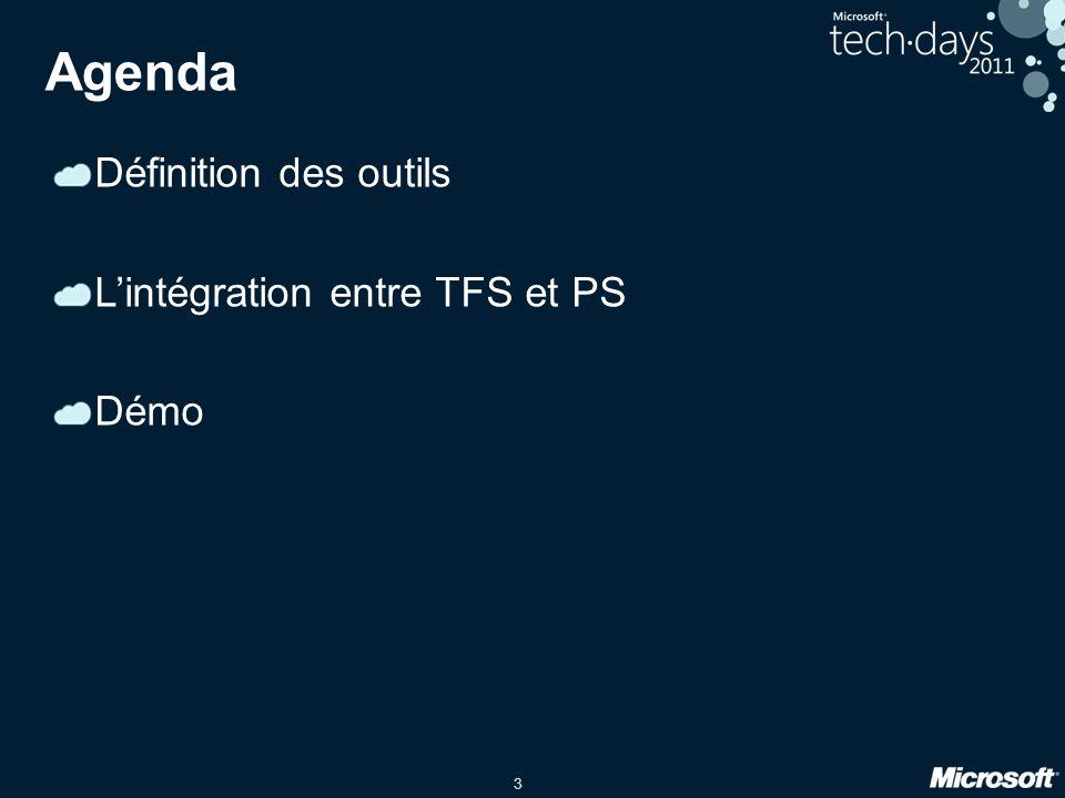 Agenda Définition des outils L'intégration entre TFS et PS Démo