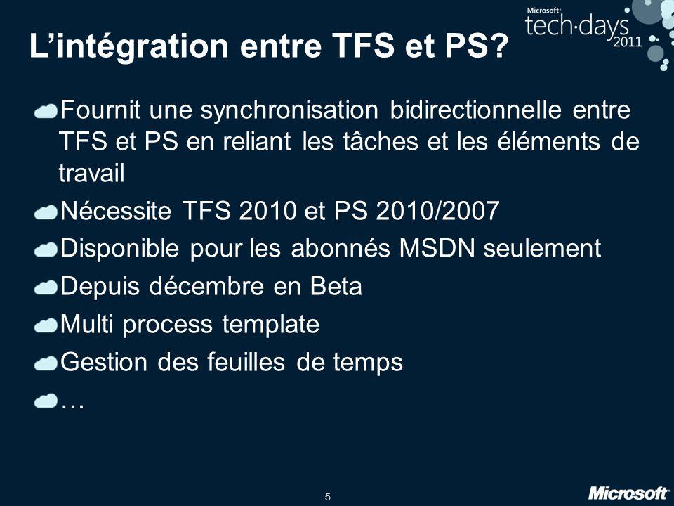 L'intégration entre TFS et PS