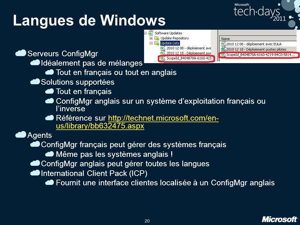 Langues de Windows Serveurs ConfigMgr Idéalement pas de mélanges