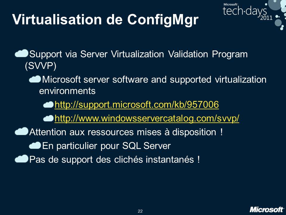 Virtualisation de ConfigMgr