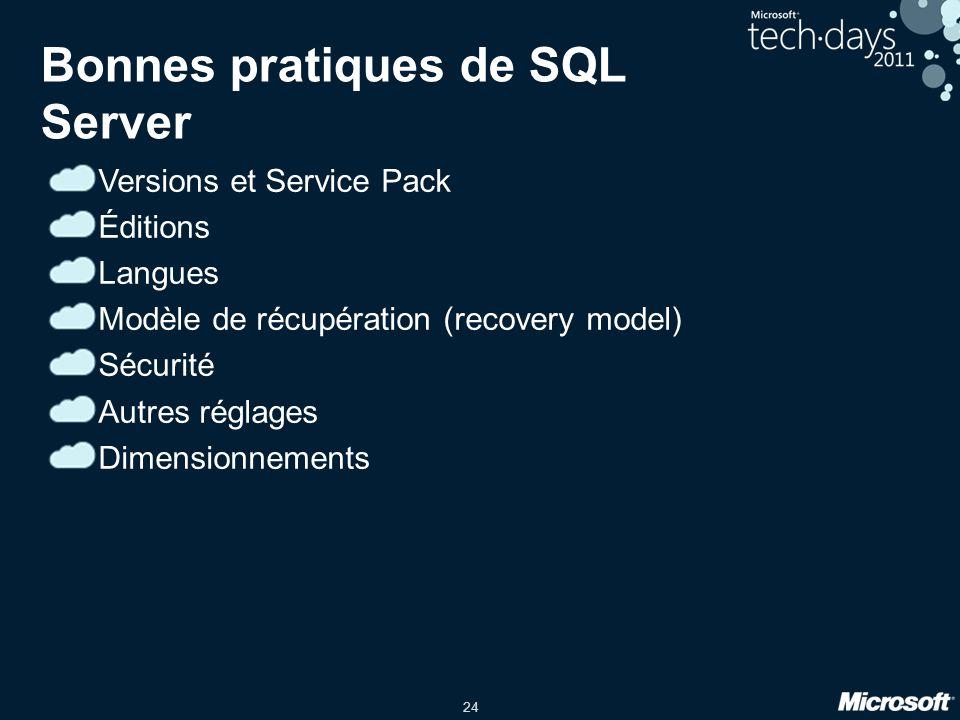 Bonnes pratiques de SQL Server