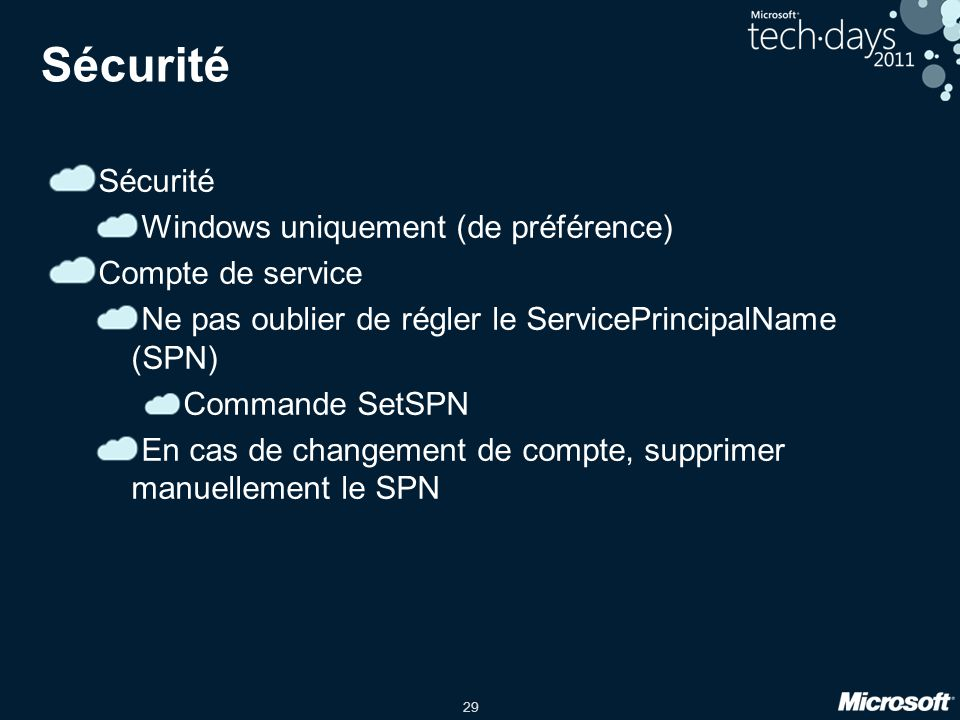 Sécurité Sécurité Windows uniquement (de préférence) Compte de service