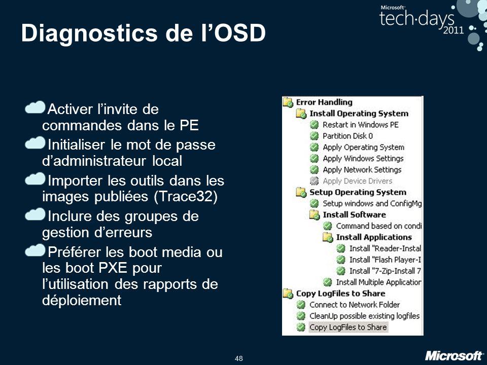 Diagnostics de l'OSD Activer l'invite de commandes dans le PE