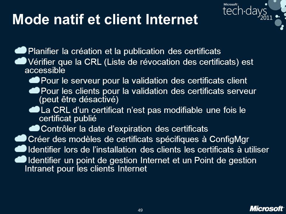 Mode natif et client Internet