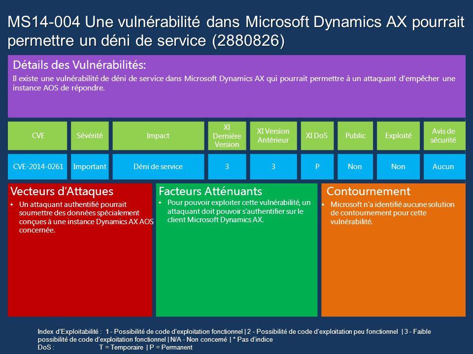 MS14-004 Une vulnérabilité dans Microsoft Dynamics AX pourrait permettre un déni de service (2880826)